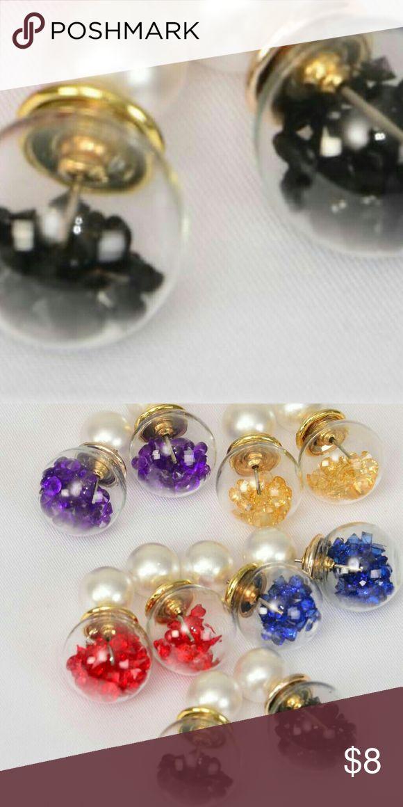 🚨1 HOUR SALE🚨 Pearl Double Sided Earrings Black Pearl Glass Ball Double Sided Earrings Jewelry Earrings