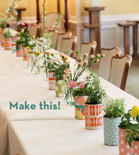 Reuse can for vase by covering with pretty paper - used for both center piece and party favor.