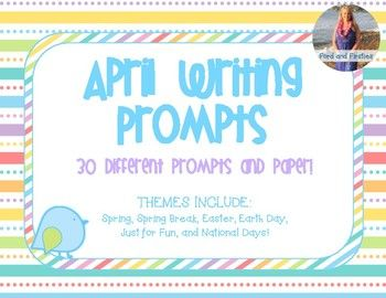This product contains 30 different writing prompts for your students to work on during the month of  April! The pages vary in terms of clip-art (some have some, some have none, borders vary, etc.) and lay out.  All are in back and white! Writing Prompts Include:  Spring, Spring Break, Earth Day, Easter, Just for Fun, and National Days in April!I hope you enjoy!