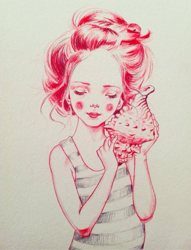 Julie Filipenko. The girl and the shell both look so fragile as they are drawn in a soft way by enhancing the darker areas. I love the outline on the drawing and I think it shows that the character works good on its own, without any background. Greta M.