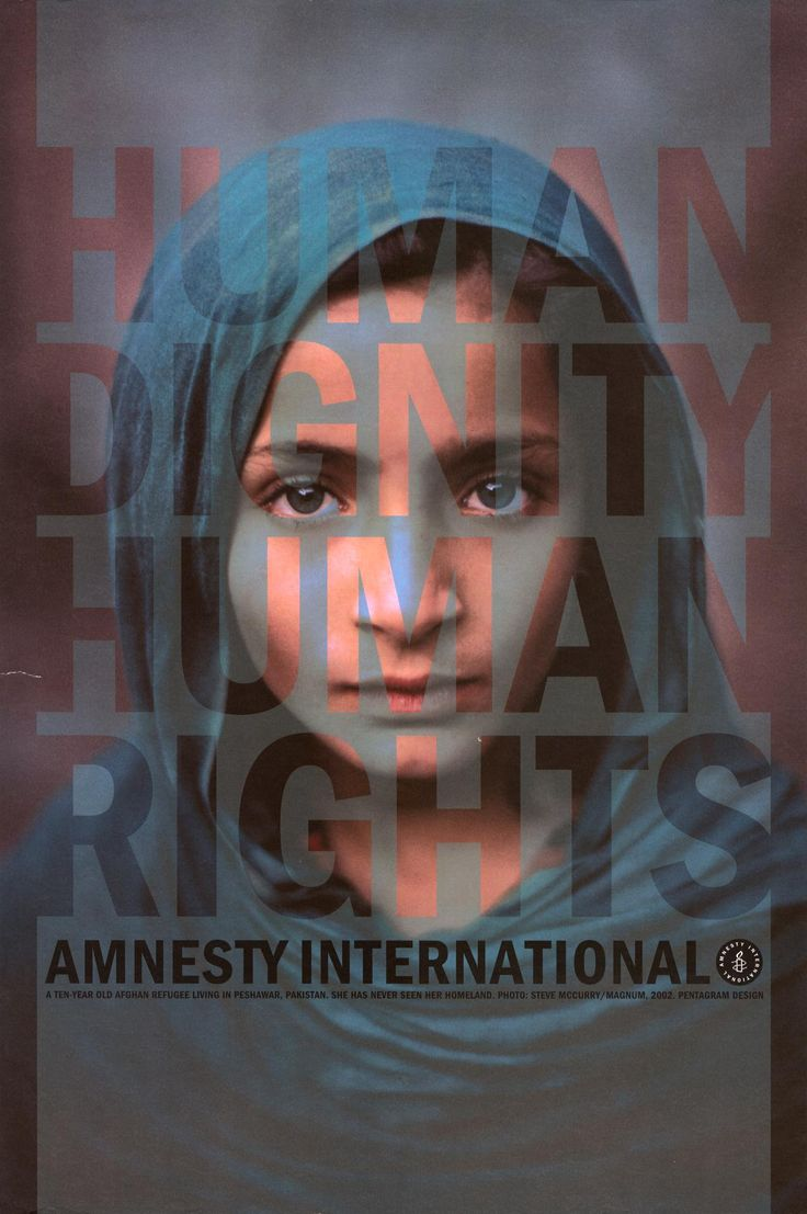 This is a Human Rights Poster. Placing typography in a not very clear way makes audiences also focus on the girl's emotion.