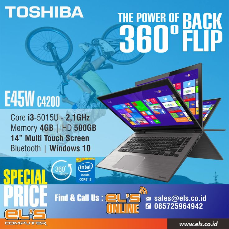 TOSHIBA E45W-C4200 WIN 10 TOUCH 360⁰, Laptop multifungsi dari Toshiba, sangat cocok untuk anda yang bergaya dinamis. Untuk informasi detail bisa cek langsung melalui website resmi els computer di http://www.els.co.id/shop/toshiba-e45w-c4200-win-10-touch-360%E2%81%B0-black