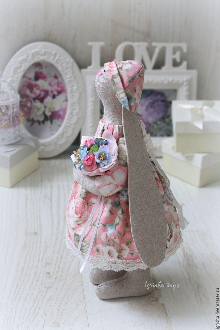Купить Зайка Рози - кремовый, зайка, зая, интерьерная игрушка, интерьерная зайка, заяц