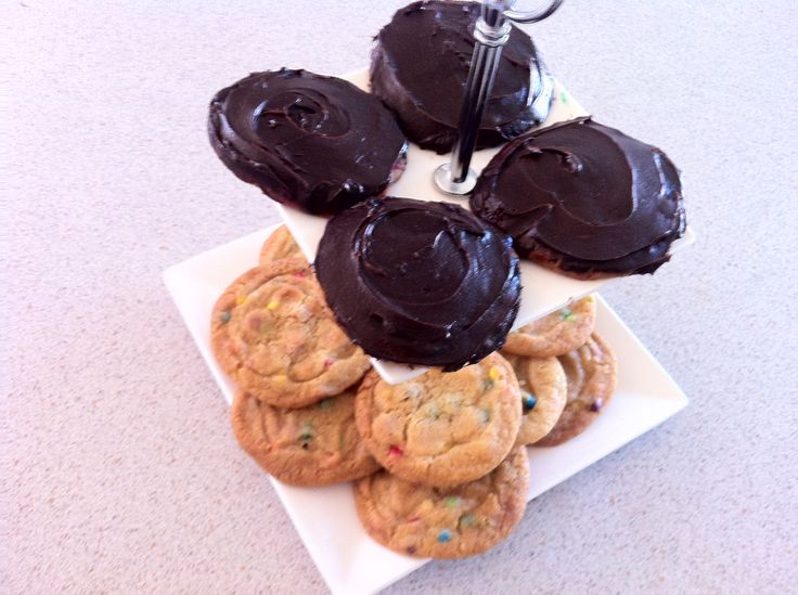 Party cookies and party cookies chocolate coated. (party cookies= mini colourful chocolate drops instead of choc chips)