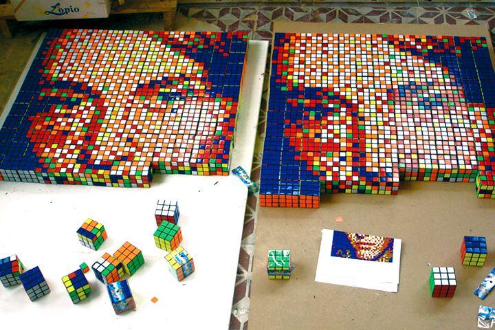pixel art avec des rubis cubes