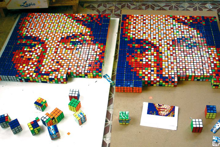 Rubiks pixel portrait