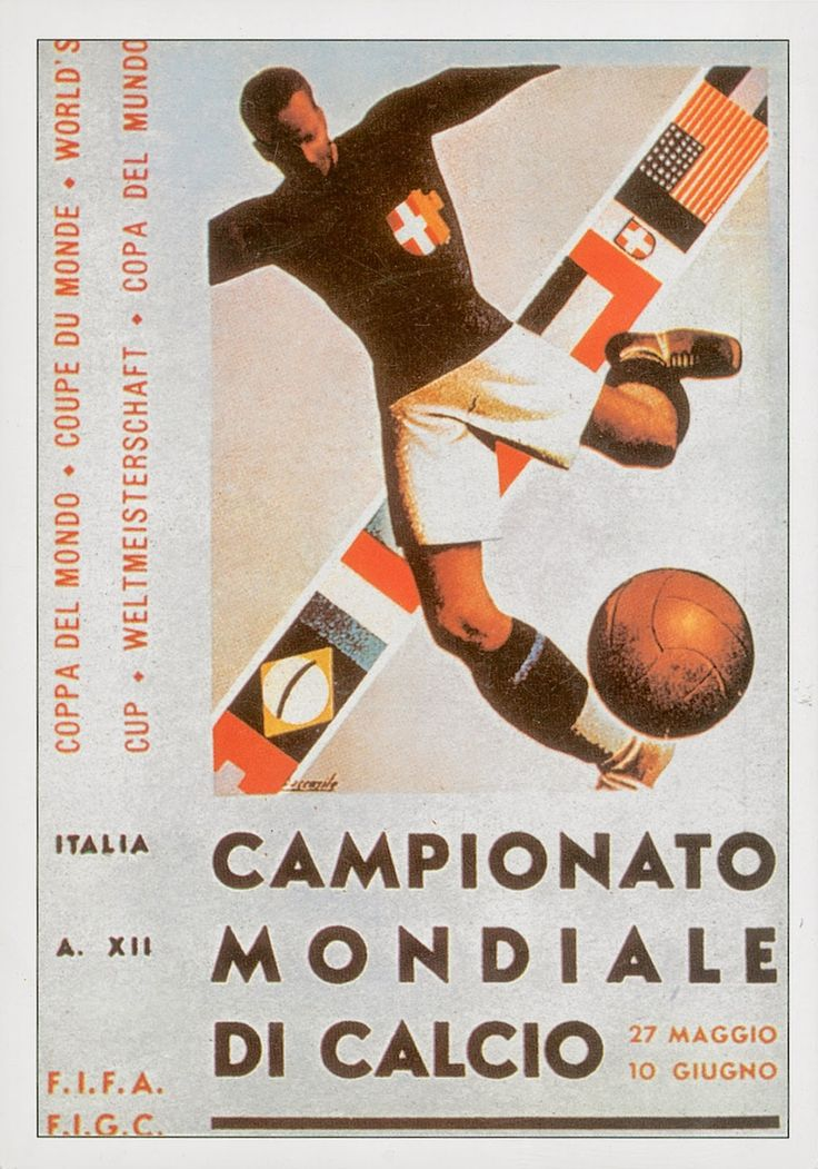 posters coupe du monde football fifa italie 1934   posters de la coupe du monde de foot de 1930 à 1994   vintage poster football foot FIFA c...