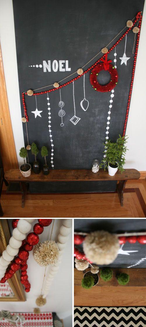 DIY: Pom Pom Garland: Pompoms, Chalkboard Ideas, Craft, Chalkboard Walls, Decoration Garlands, Pom Pom Garland, Christmas Decor