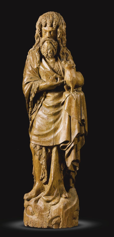 Lot | Sotheby. FRANÇAIS, BOURGOGNE, SECONDE MOITIÉ DU 14ÈME SIÈCLE Saint Jean-Baptiste noyer 100cm.