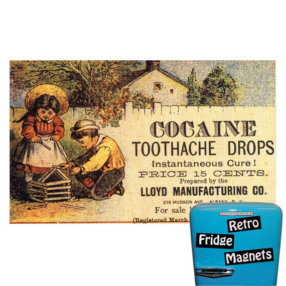 Funny Cocaine Toothache Drops Magnet  Free by RetroFridgeMagnets, $2.00