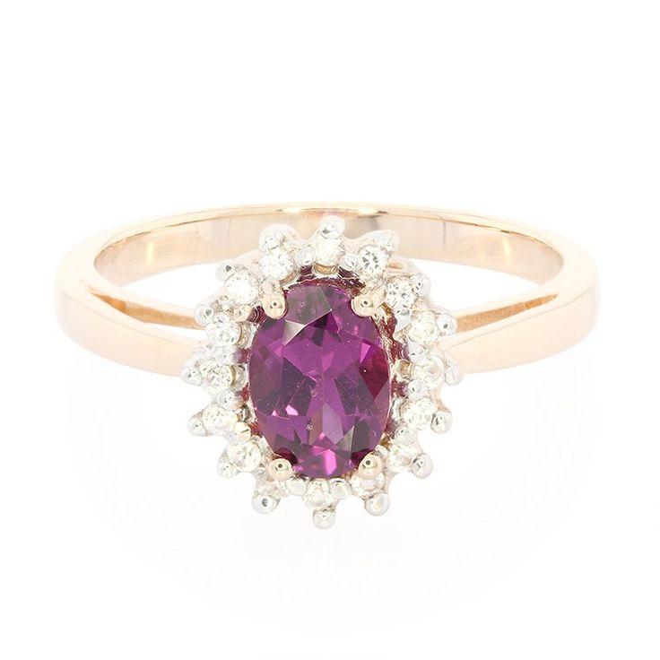 Bague de fiançailles en or et Grenat magenta - Réf 7456DX - Bijoux de mariage rose - Juwelo Bijouterie en Ligne