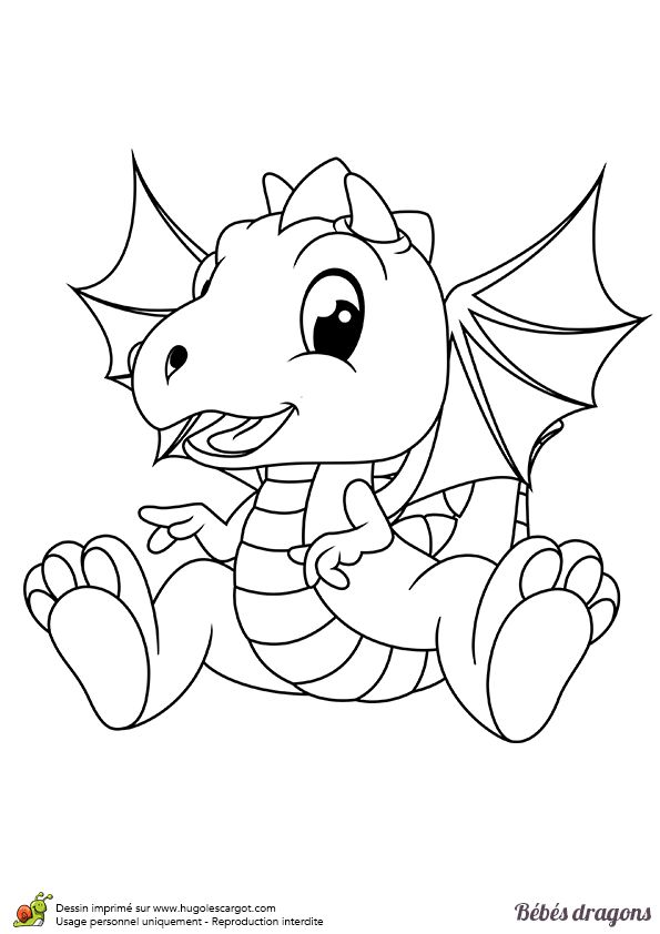 Ce petit dragon possède déjà de très grands ailes, dessin à colorier