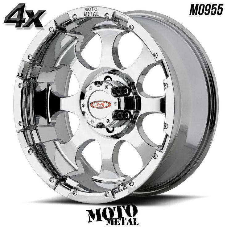 "4 Moto Metal MO955 16""x8"" 8x165.10 Chrome OFST:0mm 16 Inch Rims 16X8 Wheels"