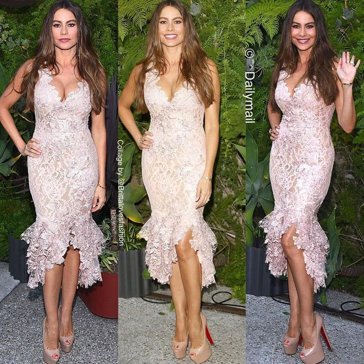 "1,031 Likes, 5 Comments - Britta Kristiansen (@brittalovesfashion) on Instagram: ""Sofia Vergara is vavavoom in LA - in Martha Medeiros lace dress and Louboutin high heels!…"""