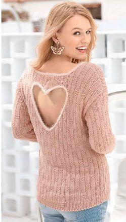 Пуловер с акцентом на спине в виде «Сердца» спицами