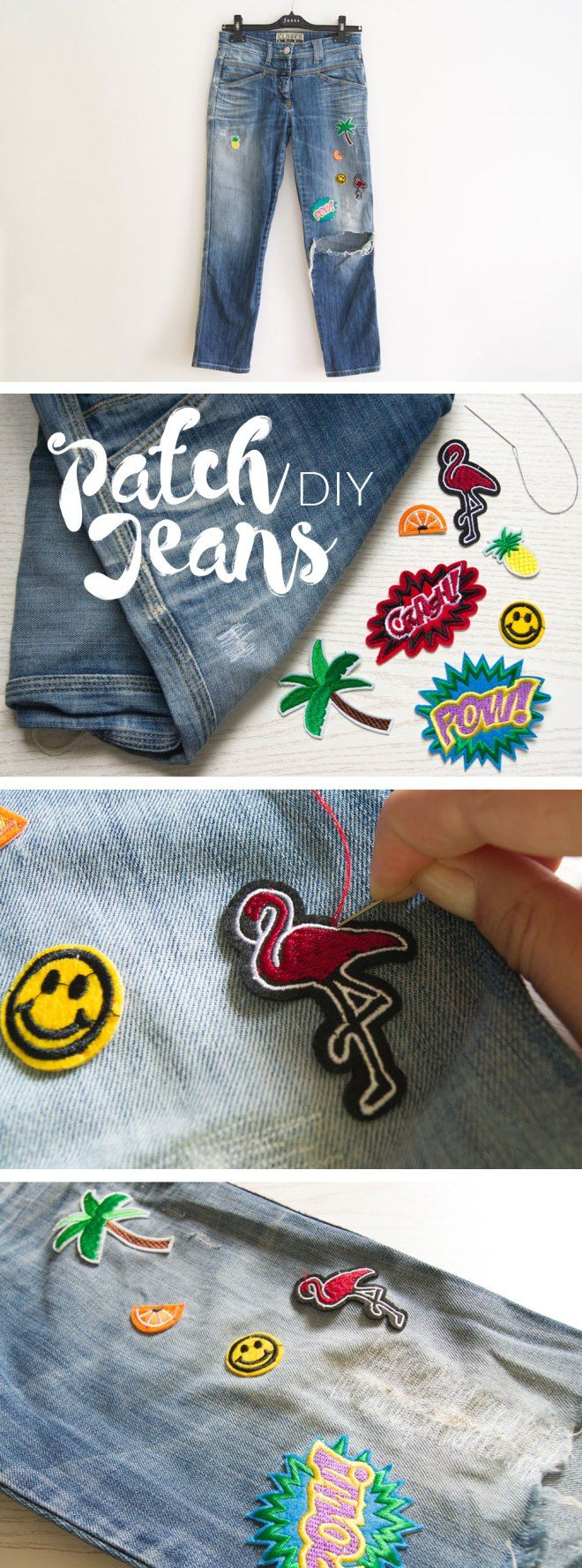 DIY Patch Jeans - yellowgirl