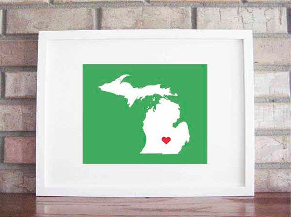 Customize your home is where the heart is michigan by lilygene 25 00