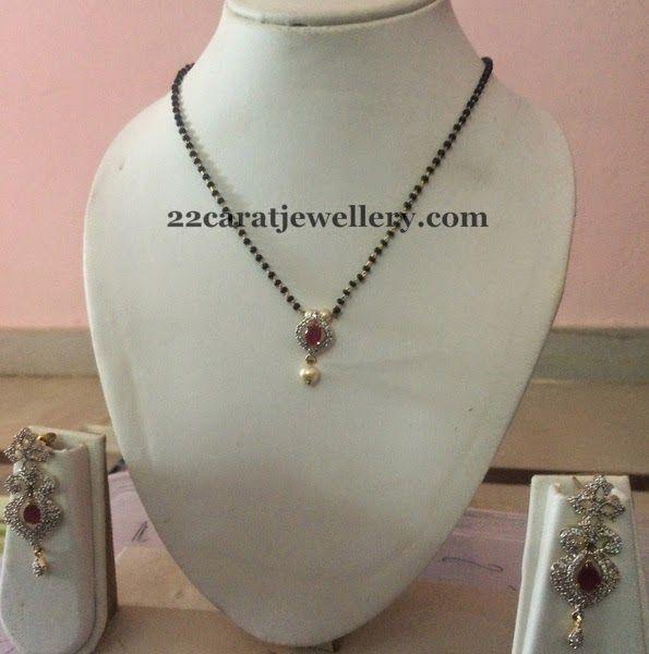 Jewellery Designs: Black Beads Set CZ Earrings