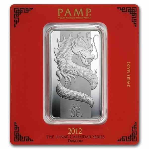 100 grams Silver Pamp Suisse Lunar Dragon 2012 Ingot Bar in packaging