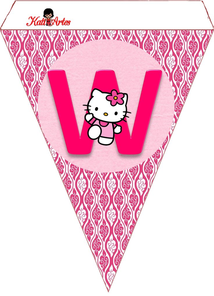 Hello Kitty Free Printable Bunting. Banderines de Hello Kitty.