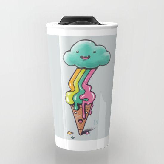 Rainbow Ice Cream - Summer colors Travel Mug by Claudio Nozza Art   Society6