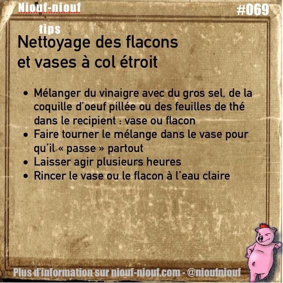 Tips Niouf-niouf : nettoyage des flacons et vases à col étroit #nettoyage #entretien #vase #flacon #trucs #astuces