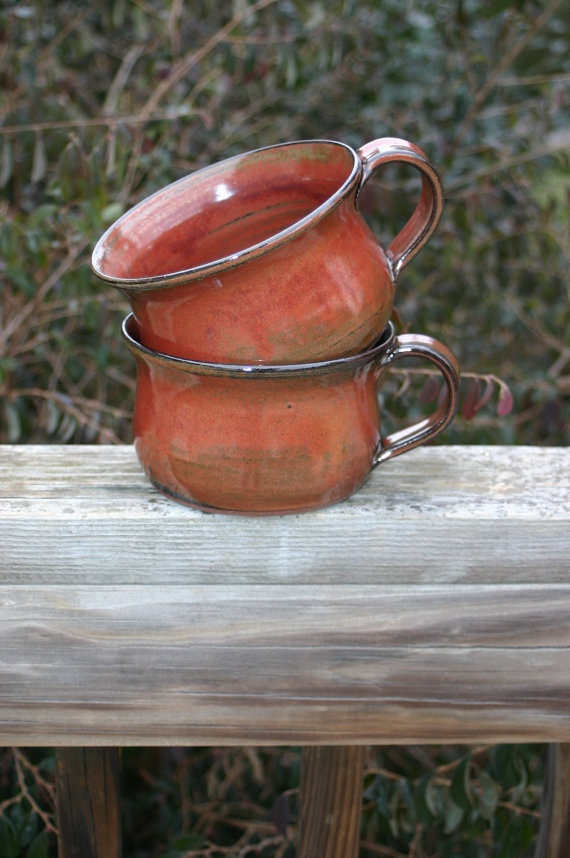 Pottery Soup Bowls with Handles Rusty Red Glaze by Beaverspottery, $30.00