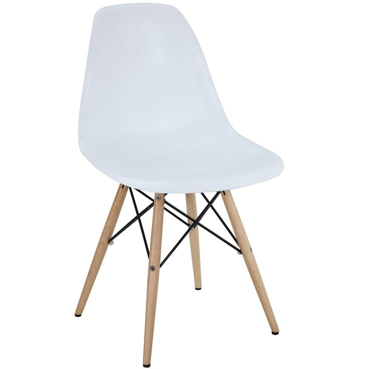 Bon Modway White Plastic Side Chair With Wooden Base (White)