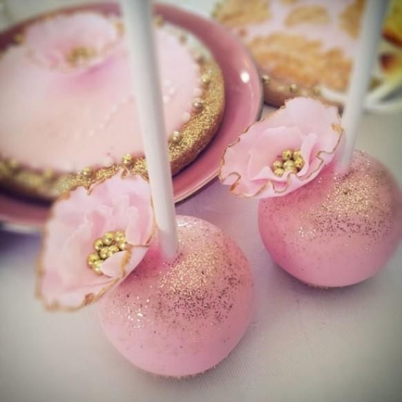 Pink And Gold Wedding Cake Pops With Pink And Gold Edible Sugar