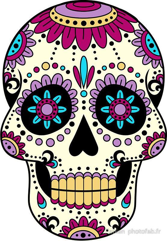 Skull Purple Sticker In 2019 Sugar Skulls Calaveras