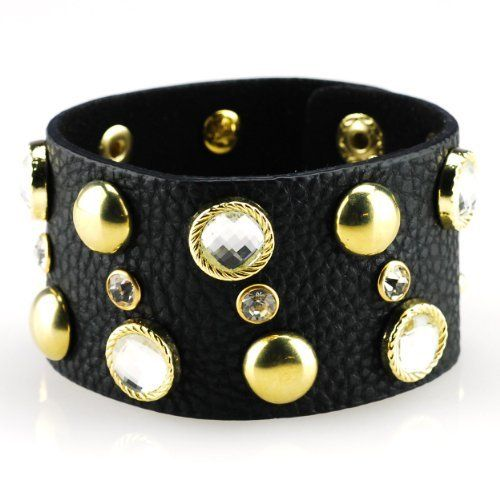 """Black Leather Band Bracelet with Clear Rhinestones and Brass Absolute Accessory. $24.95. adjustable bracelet. approx 1.5"""" wide. rhinestone bracelet. 8.5"""" long. leather bracelet"""