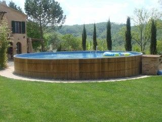 Above Ground Pool I Like The Wooden Barrel Look Outdoor