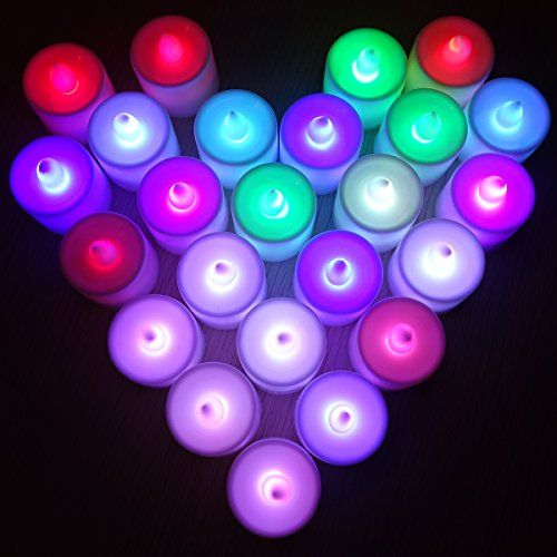 Set of 24 Colour Changing Flickering Flameless LED Candle Light Tea light Mood Light Battery include for Wedding Party Club Decor in White LD010 -- More info could be found at the image url.Note:It is affiliate link to Amazon.