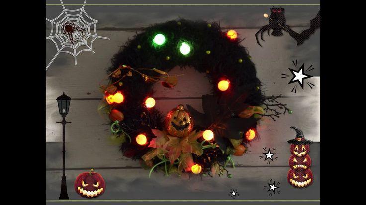 Halloweenský věnec s působivým LED osvětlením a s časovým spínačem (6 hodin zapnuto, 18 hodin přestávka)  Halloweenn wreath with impresive LED lights (with automatic time switch 6 hrs on, 18 hrs off)