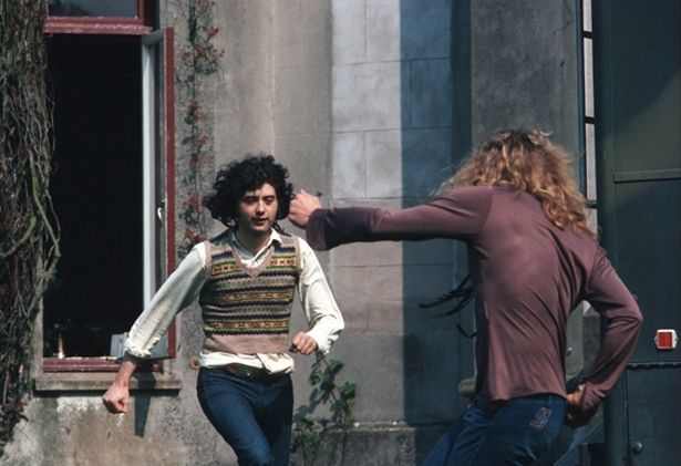 """Jimmy Page and Robert Plant dancing to the song """"Dancing Days"""" at Stargroves, England 1972."""
