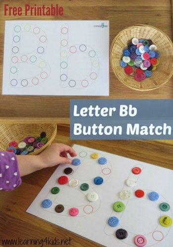 Letter B Activities Button Match Free Printable A-z Template