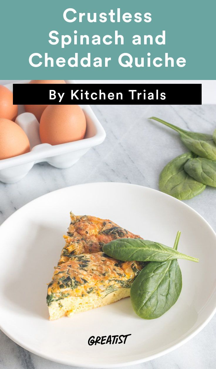6. Crustless Spinach and Cheddar Quiche #greatist http://greatist.com/eat/crustless-quiche-recipes