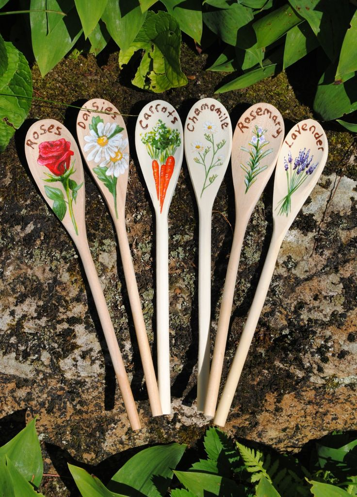2014 Outdoor Decor Ideas   Garden Markers Custom Painted Wooden Spoons