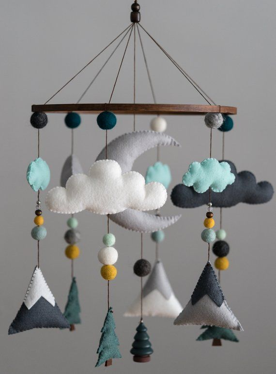 Teal Mustard Mint / Woodland Nursery / Felt Mobile / Mountain Nursery / Felt Moon / Woodland Mobile / Nursery Decor / Monochrome