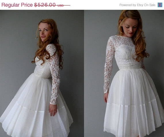 Spring Break Sale 1950s wedding dress  50s cupcake by coralvintage, $394.50