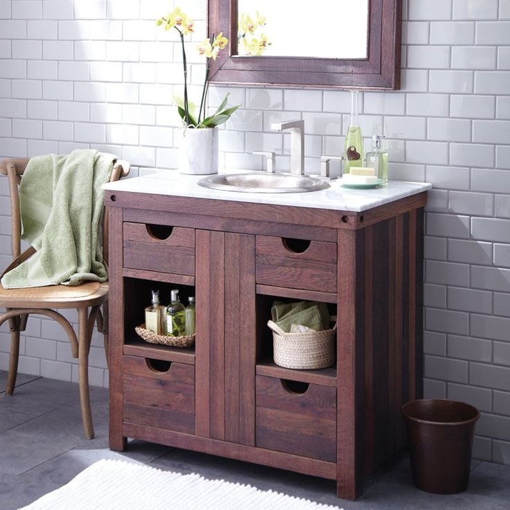 Website Photo Gallery Examples Modest Brown Wood Bathroom Vanity With Four Rectangle Shaped Drawers And Center Space Two Shelving Inspirations Also Round Shaped Stainless Steel Sink On