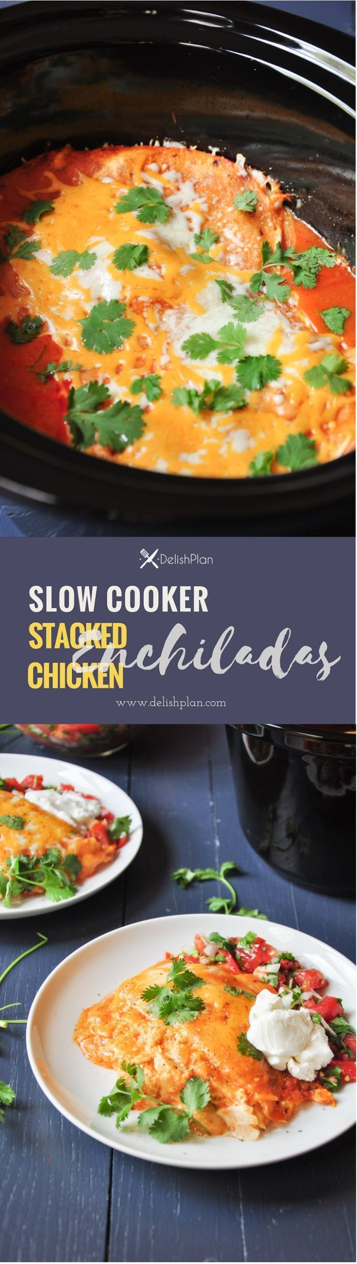 Cheesy and tasty chicken enchiladas stacked in a slow cooker. It's easy to prepare and a great way to use up leftover chicken or meat. #onepotmeal #glutenfree
