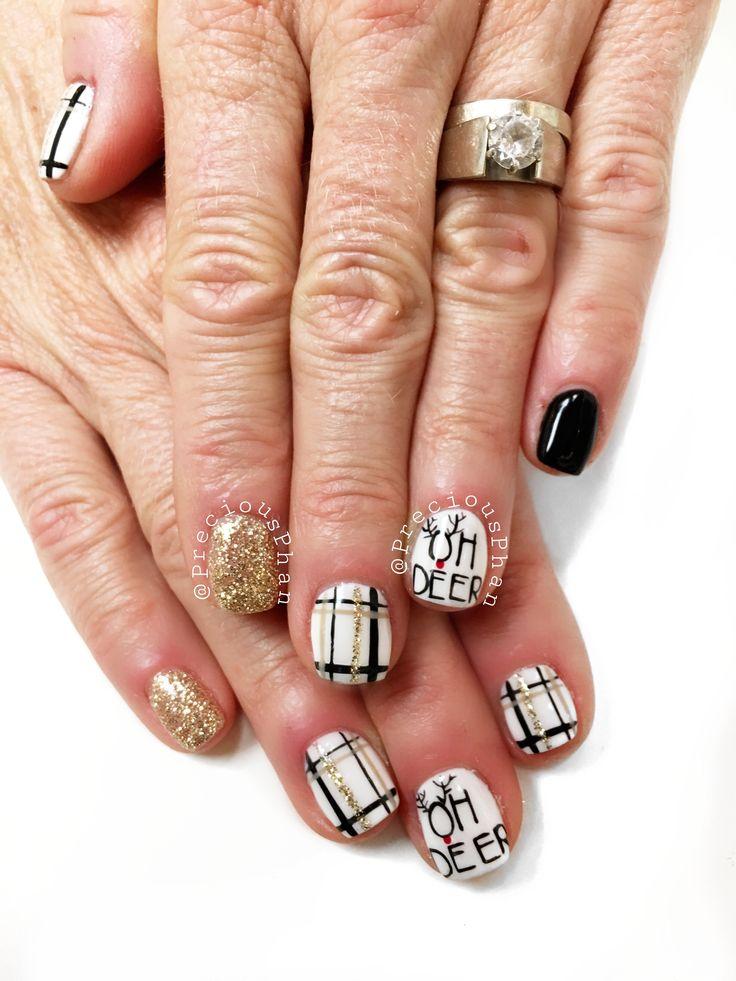 reindeer nails. plaid christmas
