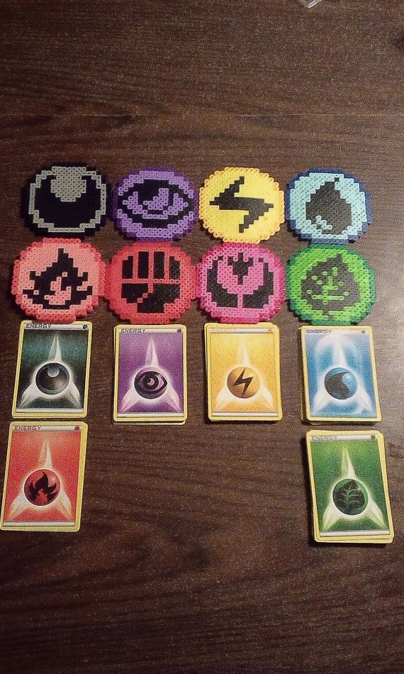 This is both the energy and a handmade perler symbol. I dont have all symbols and energies, but hope to have them for the future.  If you have any questions or requests, feel free to message me!  2 Dark 2 Fire 19 Grass 11 Psychic 14 Electric 14 Water  Please add a note of what match up you want, if you just want the energy card, please go to where I sell pokemon cards.  If you just want the perler bead, message me to work out a deal