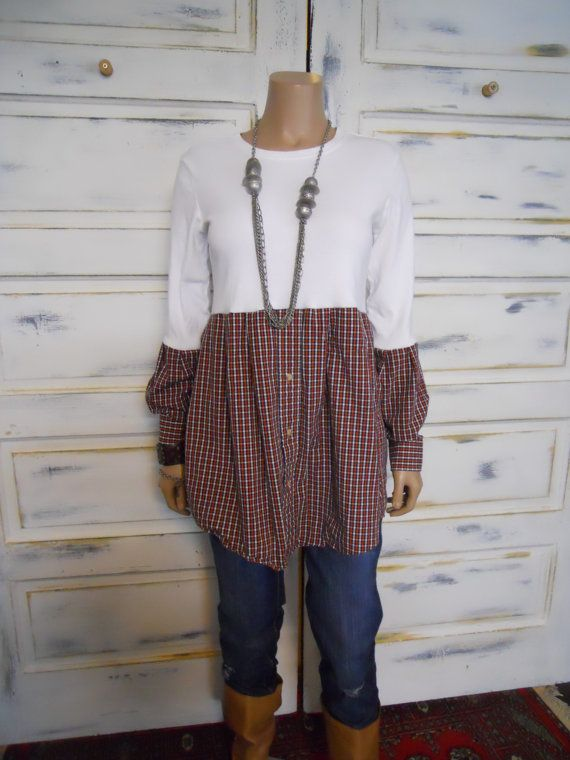 Auburn upcycled ladies tunic Hippie/Boho Baby Doll Repurposed long sleeves white t-shirt with plaid bottom section and sleeves.  Funky!