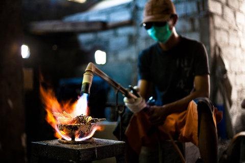 Artisan workers in Bali making Pantheia jewelry