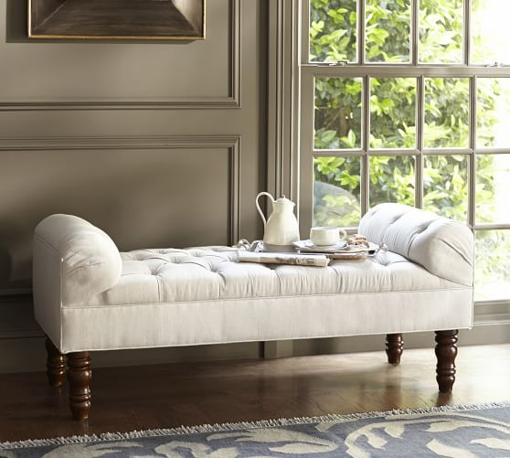 Lorraine Tufted Storage Bench: Lorraine Tufted Upholstered Bench, Full, Brushed Canvas