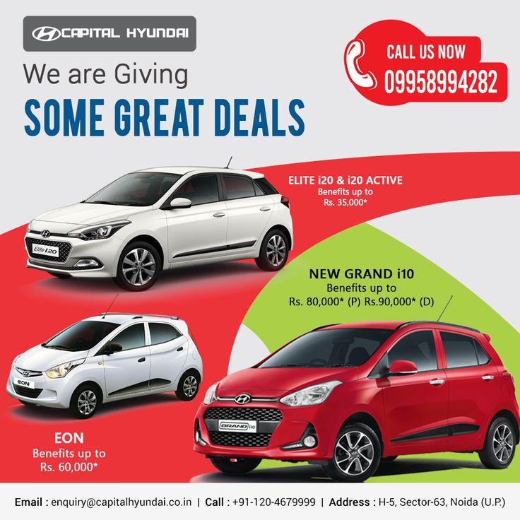 We are giving some great deals for you..............................................................#Elitei20 #Eon #Grandi10 #HyundaiCar #Hyundai #greatdeals #caroffer #Hyundaioffer #capitalhyundai