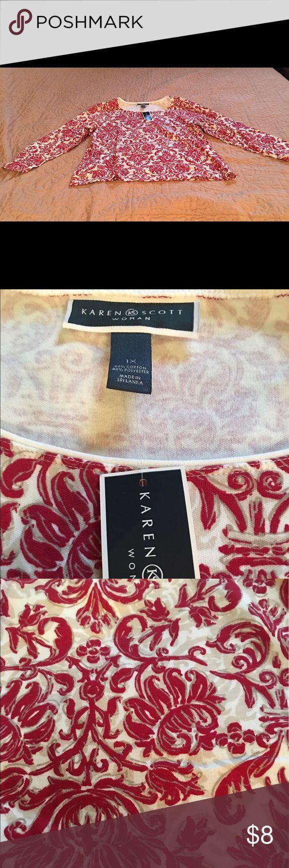 🌹 NEW Karen Scott brand long sleeve Top 🌹 NEW Karen Scott brand long sleeve knit Top. Pretty color combination of cream background with khaki and red floral print. NWT. Karen Scott Tops Tees - Long Sleeve