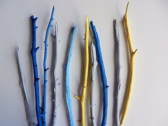 Painted Branches / blue and yellow Decor / by CarriageOakCottage - cool idea for wall decor, too